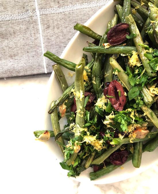 Roasted Green Beans With Garlic & Kalamata Olives