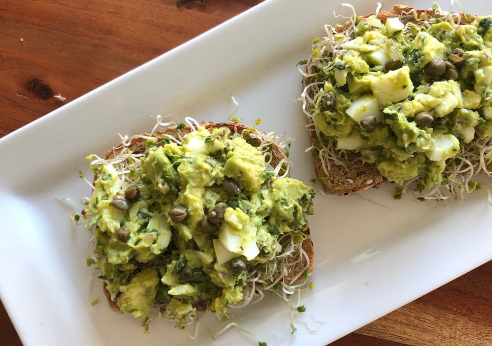 Avocado and Caper Egg Salad Toasts